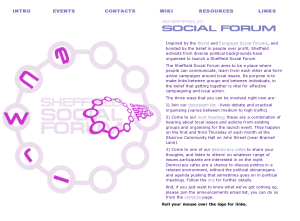 Sheffield Social Forum Website Screenshot